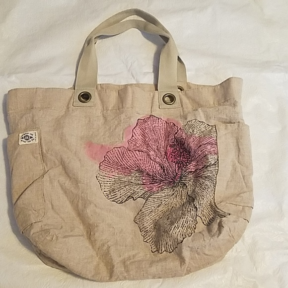 f3042cf3859d Life is Good Beige Pink Flower Design Tote Bag